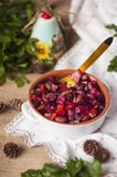 Traditional Russian salad from vegetables, in purple salad. Copy space royalty free stock photo
