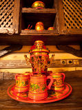 Traditional russian samovar with cups Royalty Free Stock Images