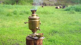 Traditional Russian samovar. Vintage kitchen utensil boiling tea Retro item prepare hot beverage