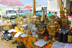 Traditional Russian samovars with bunch of crackers bagels on sh. Velyki Sorochyntsi, Ukraine - August 20, 2016: Traditional Russian samovars with bunch of royalty free stock image