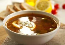 Traditional russian soljanka or saltwort soup Stock Photos