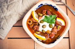Traditional russian Soljanka soup Stock Photo