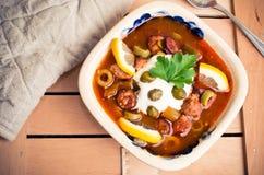 Traditional russian Soljanka soup Stock Photo