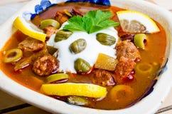Traditional russian Soljanka soup. Traditional tasty russian Soljanka soup Royalty Free Stock Image