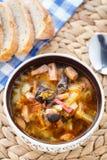 Traditional russian Soljanka soup. Traditional tasty russian Soljanka soup in a bowl Stock Photos
