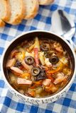 Traditional russian Soljanka soup Stock Photos