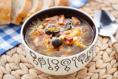 Traditional russian Soljanka soup Stock Image