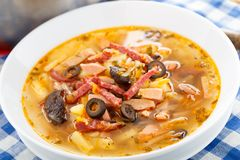 Traditional russian Soljanka soup Royalty Free Stock Photo