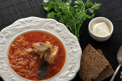 Traditional Russian soup - borsch with cabbage, sour cream Stock Images