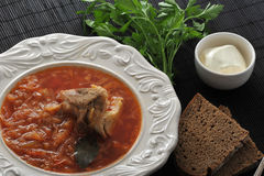 Traditional Russian soup - borsch with cabbage, sour cream Royalty Free Stock Photos