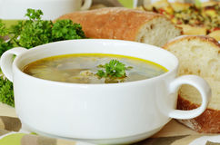 Soup with meatballs and parsley. Traditional russian soup with meatballs served for dinner Stock Photo