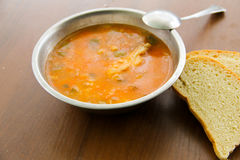 Traditional russian soup rassolnik with pickled cucumbers Stock Image