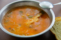 Traditional russian soup rassolnik with pickled cucumbers Royalty Free Stock Photography