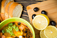 Traditional Russian soup solyanka in bowl on the table Royalty Free Stock Photography