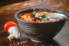 Traditional Russian soup solyanka. Closeup in a bowl on the table Stock Image