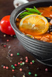 Traditional Russian soup solyanka. Closeup in a bowl on the table Stock Photography
