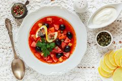 Traditional Russian soup Solyanka with meat, sausages, vegetables. Capers, pickles and olives with lemon, seasonings and spices. Served with sour cream. Rustic stock photo