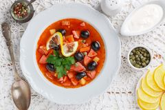 Traditional Russian soup Solyanka with meat, sausages, vegetables. Capers, pickles and olives with lemon, seasonings and spices. Served with sour cream. Rustic royalty free stock photo