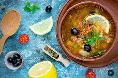 Traditional Russian soup solyanka - soup with lemon meat olive c Stock Photography