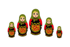 Traditional Russian souvenir nesting dolls. Traditional Russian souvenir nesting dolls, five pieces. vector illustration Stock Photo