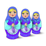 traditional Russian souvenir nesting dolls. Three pieces. vector illustration Stock Photo