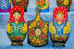 Traditional Russian Souvenirs, decorated with ornaments. Royalty Free Stock Photography