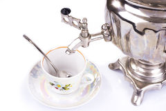 Traditional russian tea kettle and teacup Stock Photography