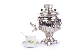Traditional russian tea kettle and teacup Royalty Free Stock Photos