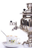 Traditional russian tea kettle and teacup Royalty Free Stock Images