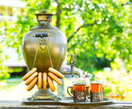 Traditional russian tea with samovar Royalty Free Stock Image