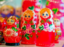 Traditional Russian toys for children - nested doll dolls. Royalty Free Stock Photos
