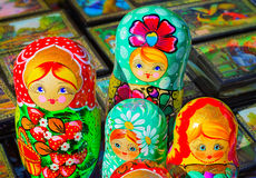 Traditional Russian toys for children - nested doll dolls. Stock Photography