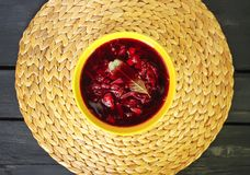 Red borscht or beetroot soup with sour cream. Royalty Free Stock Photo