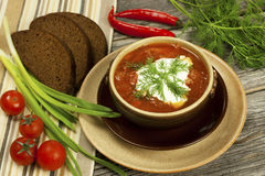 Traditional Russian and Ukrainian Borscht Soup with brown bread Stock Photos