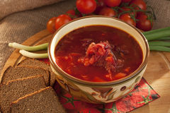 Traditional Russian and  Ukrainian Borscht Soup with brown bread Stock Images