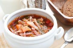 Traditional russian or ukrainian soup borscht. Traditional russian or ukrainian cabbage soup borscht Stock Photography