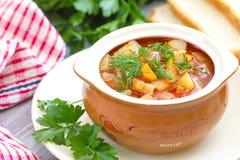 Traditional Russian Ukrainian vegetable borscht soup Stock Images