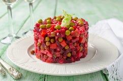 Traditional Russian and Ukrainian vegetable salad Vinaigrette Stock Images