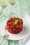 Traditional Russian and Ukrainian vegetable salad Vinaigrette Stock Photo