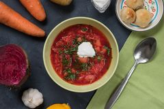 Traditional russian and ukranian borsch with ingredients royalty free stock photos