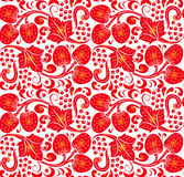 Traditional Russian vector seamless pattern in khokhloma style. Can be used for banner, card, poster, invitation etc. Royalty Free Stock Images