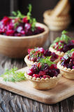 Traditional russian vegan salad with potato and beetroot Royalty Free Stock Image