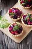 Traditional russian vegan salad with potato and beetroot Stock Photography