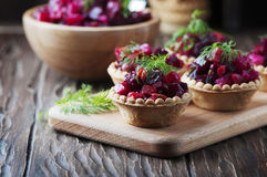 Traditional russian vegan salad with potato and beetroot Stock Photo