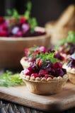 Traditional russian vegan salad with potato and beetroot Stock Photos