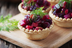 Traditional russian vegan salad with potato and beetroot Royalty Free Stock Photo