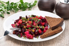 Traditional Russian vegetable salad with beetroot - vinaigrette Stock Photography