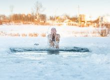 Traditional Russian  winter recreation  swimming Royalty Free Stock Images