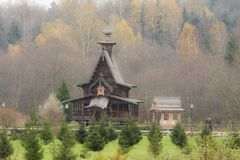The traditional russian wooden church in the ancient Russia. Golden Ring of Russia Stock Photo