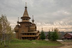 The traditional russian wooden church in the ancient Russia. Golden Ring of Russia Stock Photos